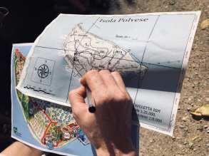 La mappa dell'isola Polvese, nel lago Trasimeno