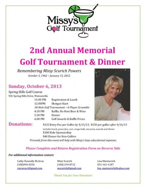 Scurich Insurance Services, Watsonville, Ca Missy's memorial golf tournament