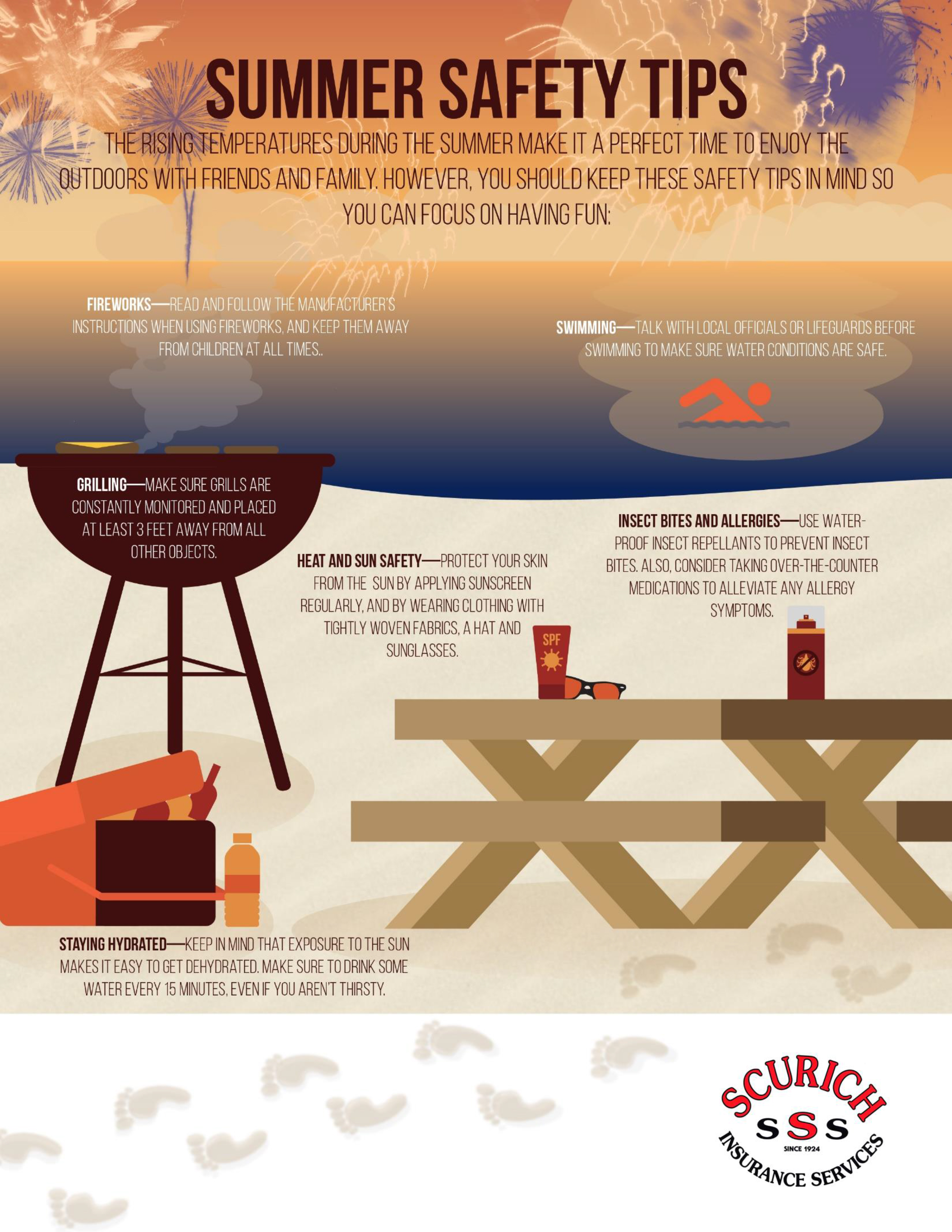 Summer Safety Tips Info Graphic Scurich Insurance Services