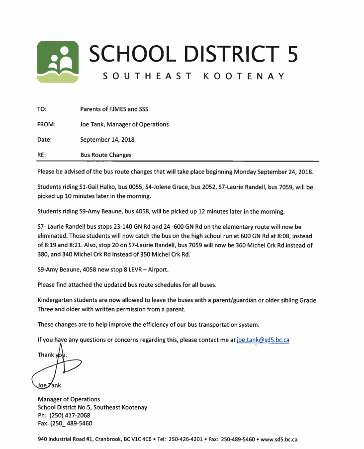 school bus route change letter | mamiihondenk org
