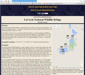 Screen Capture - LaCreek National Wildlife Refuge - Hotspot Page