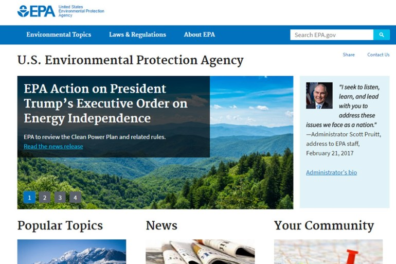 EPA Website - Front Page