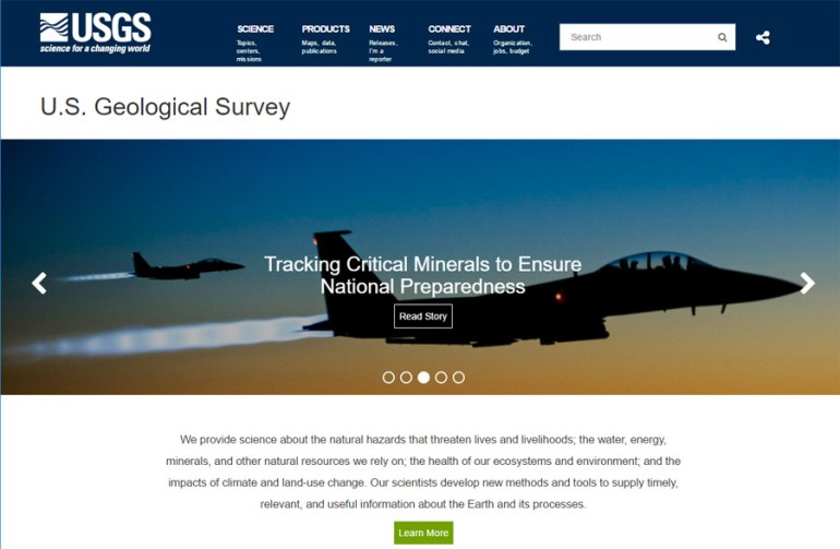 USGS Website - Front Page