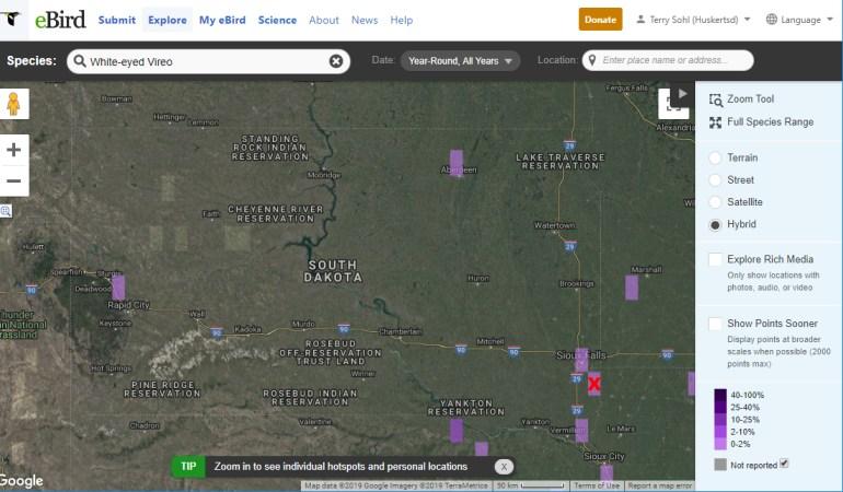 EBird White-eyed Vireo sightings for South Dakota.