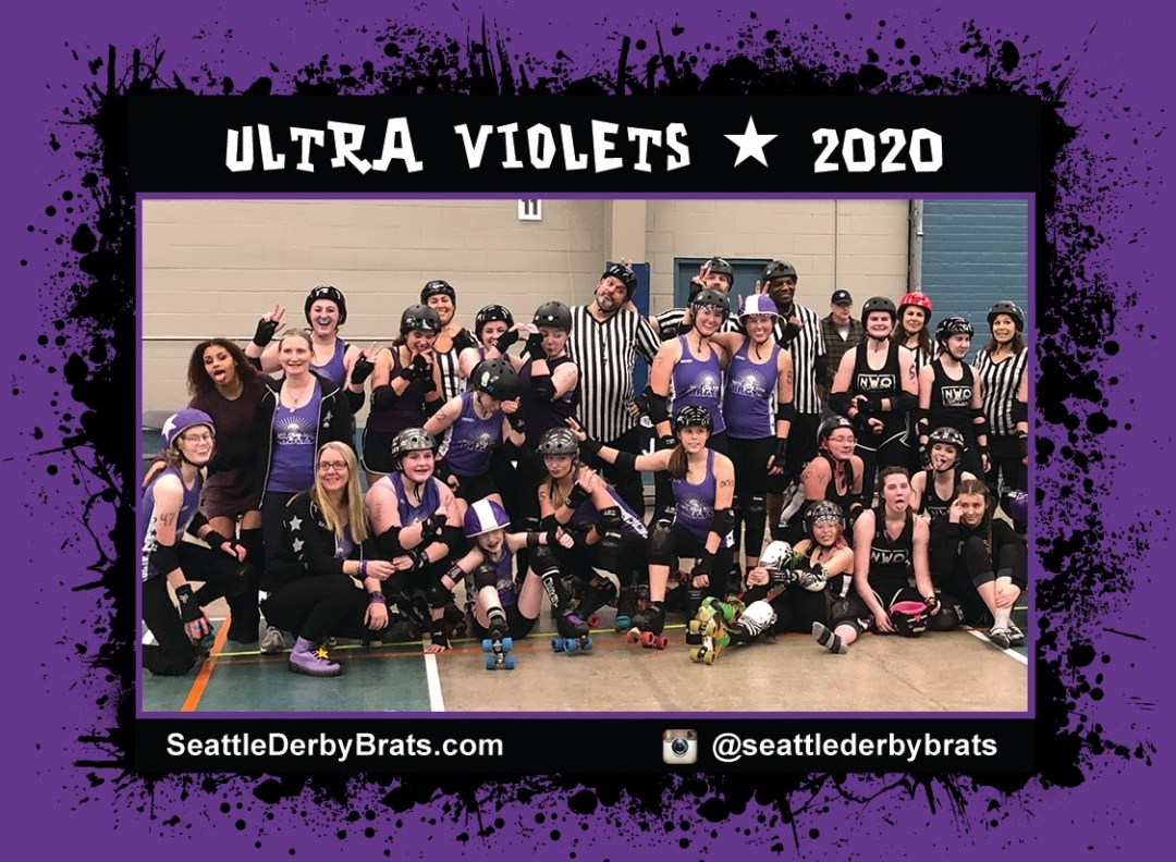 Ultra Violets 2020 Team Photo featuring the junior roller derby team in their purple jerseys, safety gear, and helmets that showcase their personality.