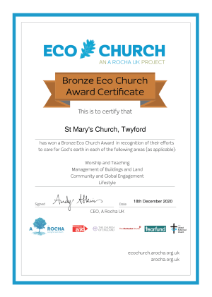 Eco Church Award Certificate Bronze St Mary's Church, Twyford-png