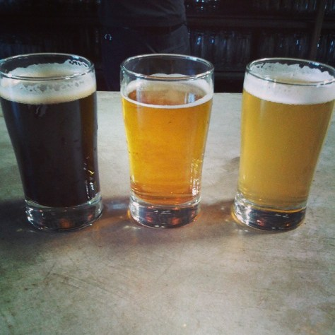 Black lager, pale ale, white ale, (left to right)