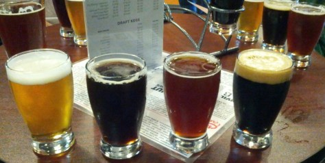 Tasters from left to right, SD Pale, Baltic Porter, Old Ale, Ethiopian Speedway.