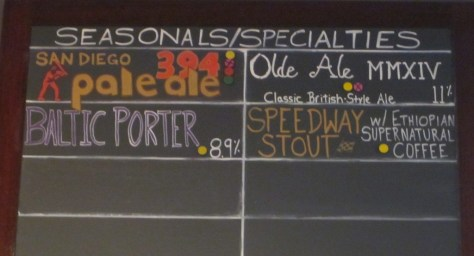 Specialty beers available as of June 17, 2014.