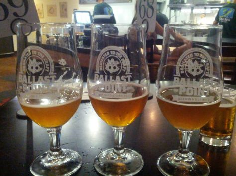 Tasters at Ballast Point. Bavarian Hopped Double IPA is on the left.