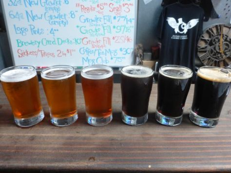 Taster flight at Arcana Brewing.