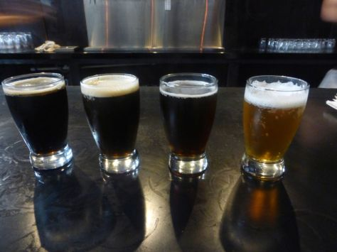 Left to right, imperial stout, peanut butter cup porter, rye pale, IPA.