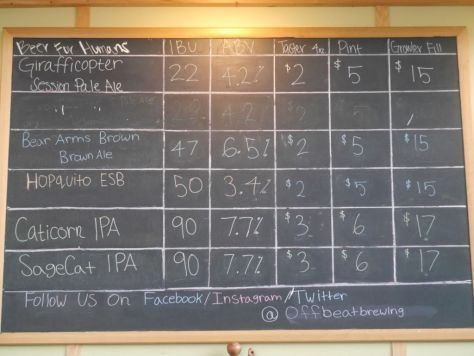 Offbeat brewing beer list.