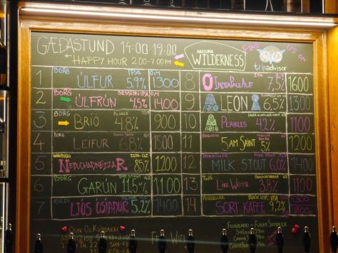 Tap list from when I visited Skuli Craft Bar.