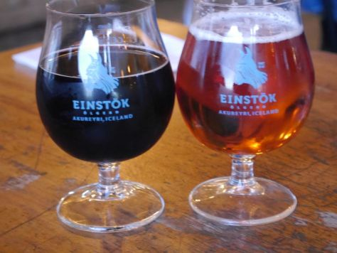 Einstok beers we ordered at a local cafe. Only the pale was on tap.