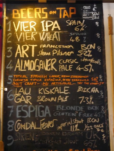 Tap List at Cat Bar.