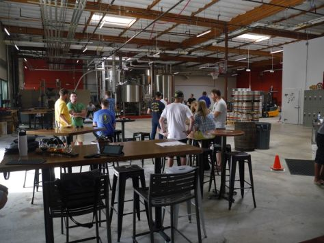 Large open area for people to hang out and enjoy some beer.