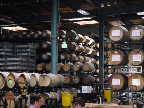 Massive stack of barrels aging beer.