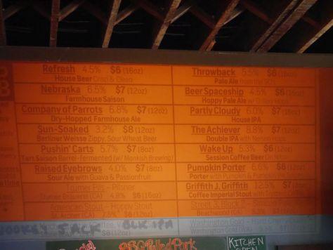 Beer list when I visited.