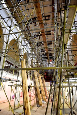 PRISM interior photo showing scaffolding for decorating 9th April 2018 _TJK4395