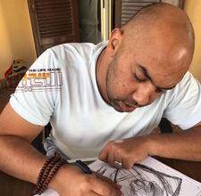 صورة مصطفى الصباغ….يحارب السرطان بالفن التشكيلي