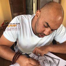 مصطفى الصباغ....يحارب السرطان بالفن التشكيلي