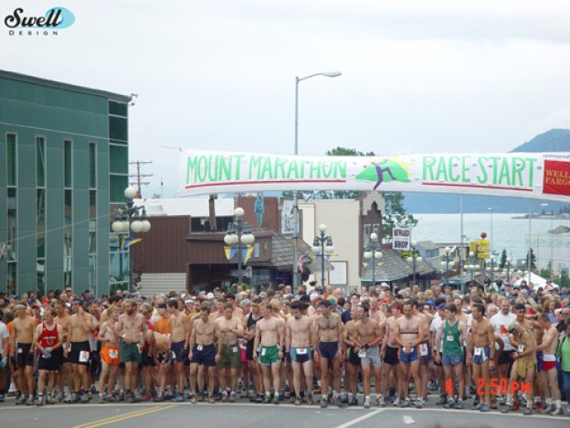 The start of the Mt. Marathon race in downtown Seward.