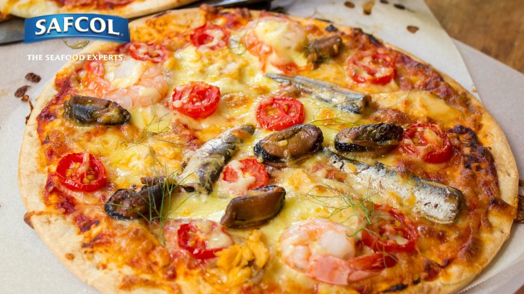 Seafood lovers pizza