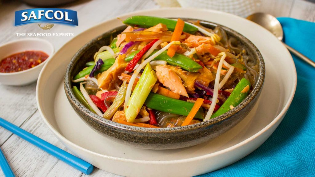 Salmon veggie sweet potato vermicelli stir-fry