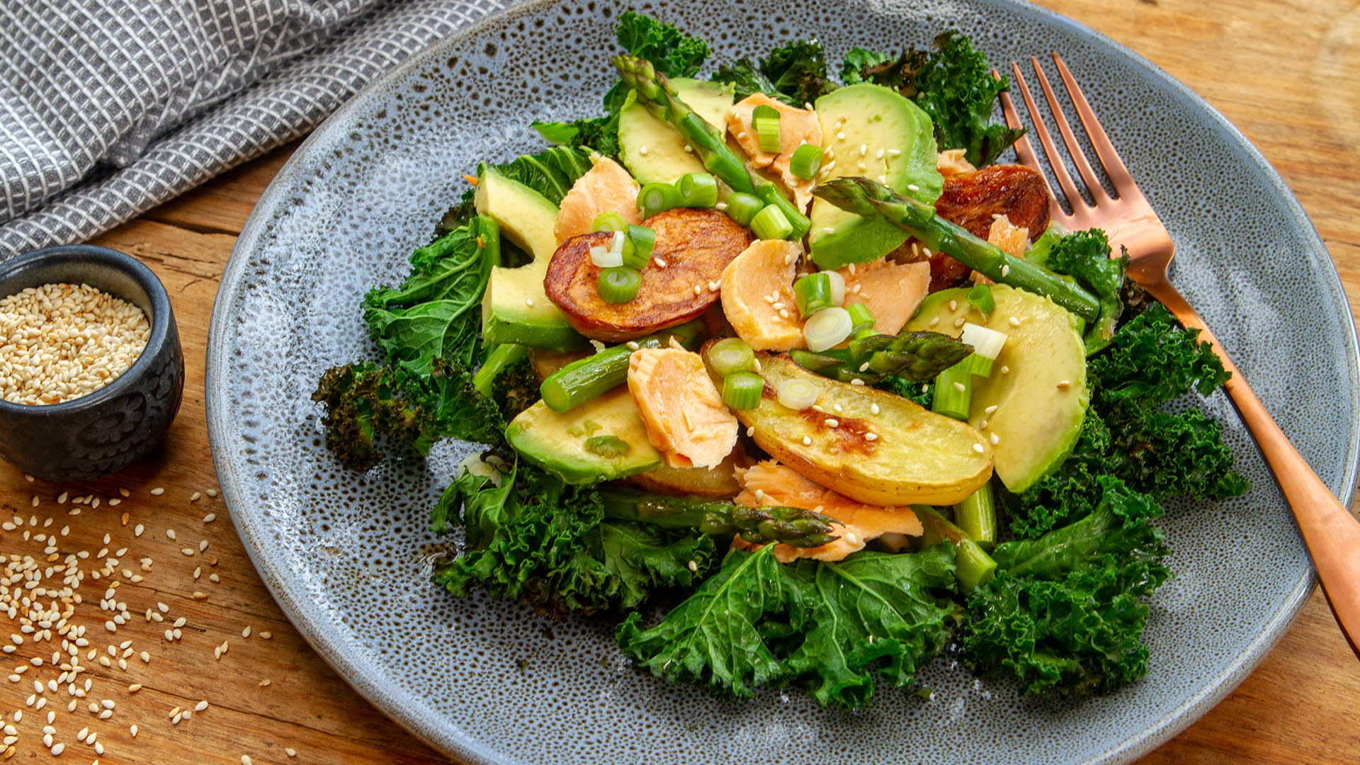 Salmon roasted kale avocado potato salad