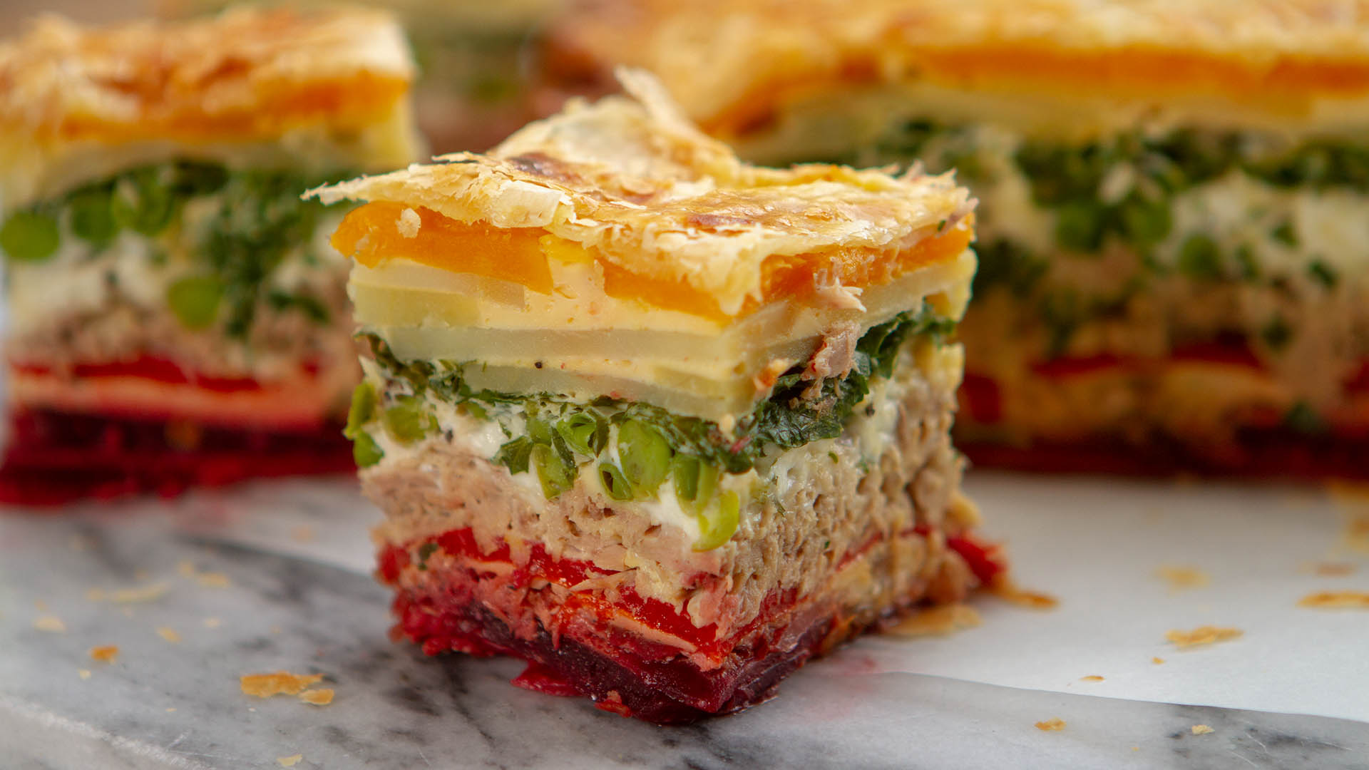 Tuna rainbow picnic pie
