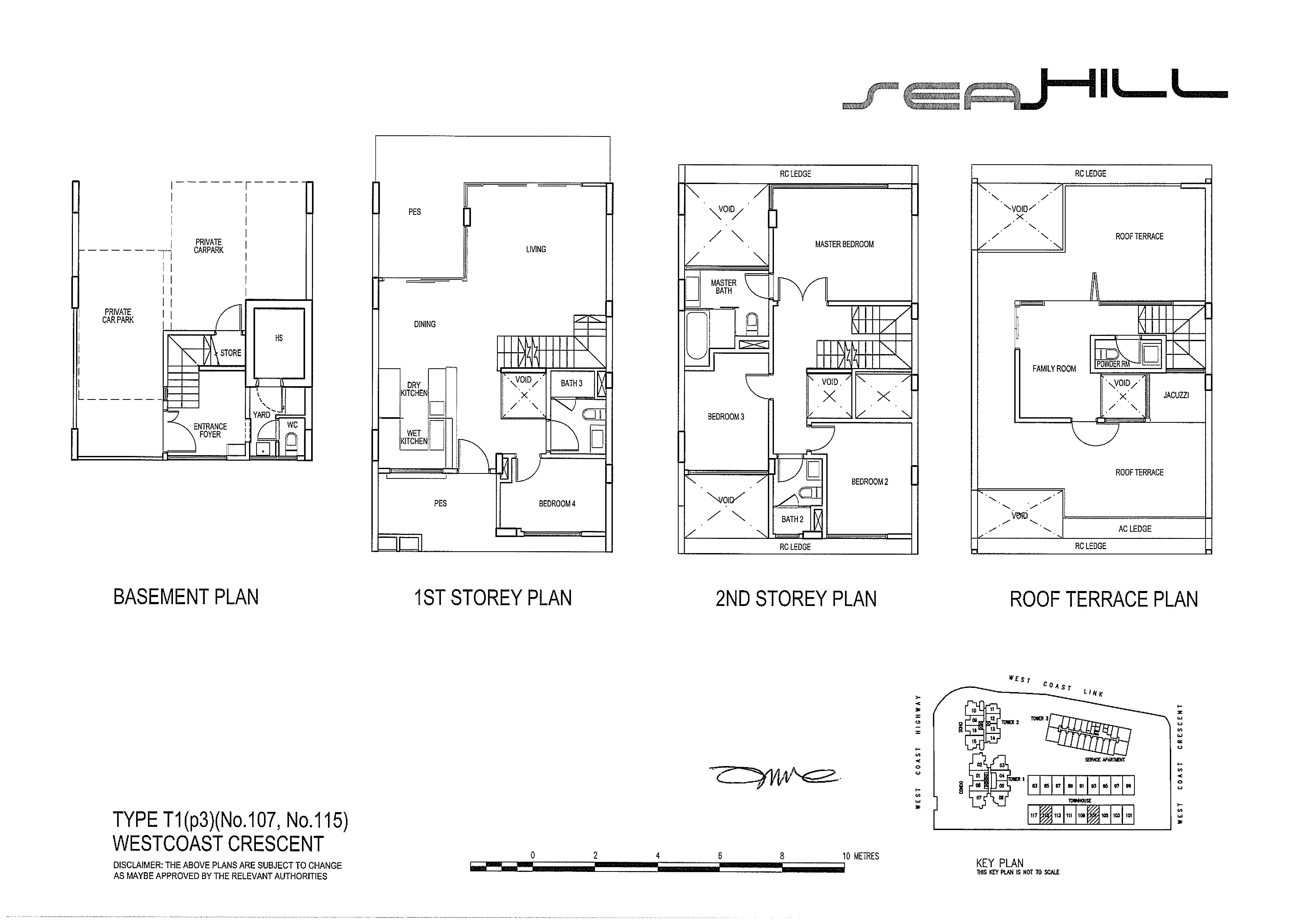 Seahill 4 Bedroom Townhouse Type T1(p3) (No.107, No.115) Floor Plans