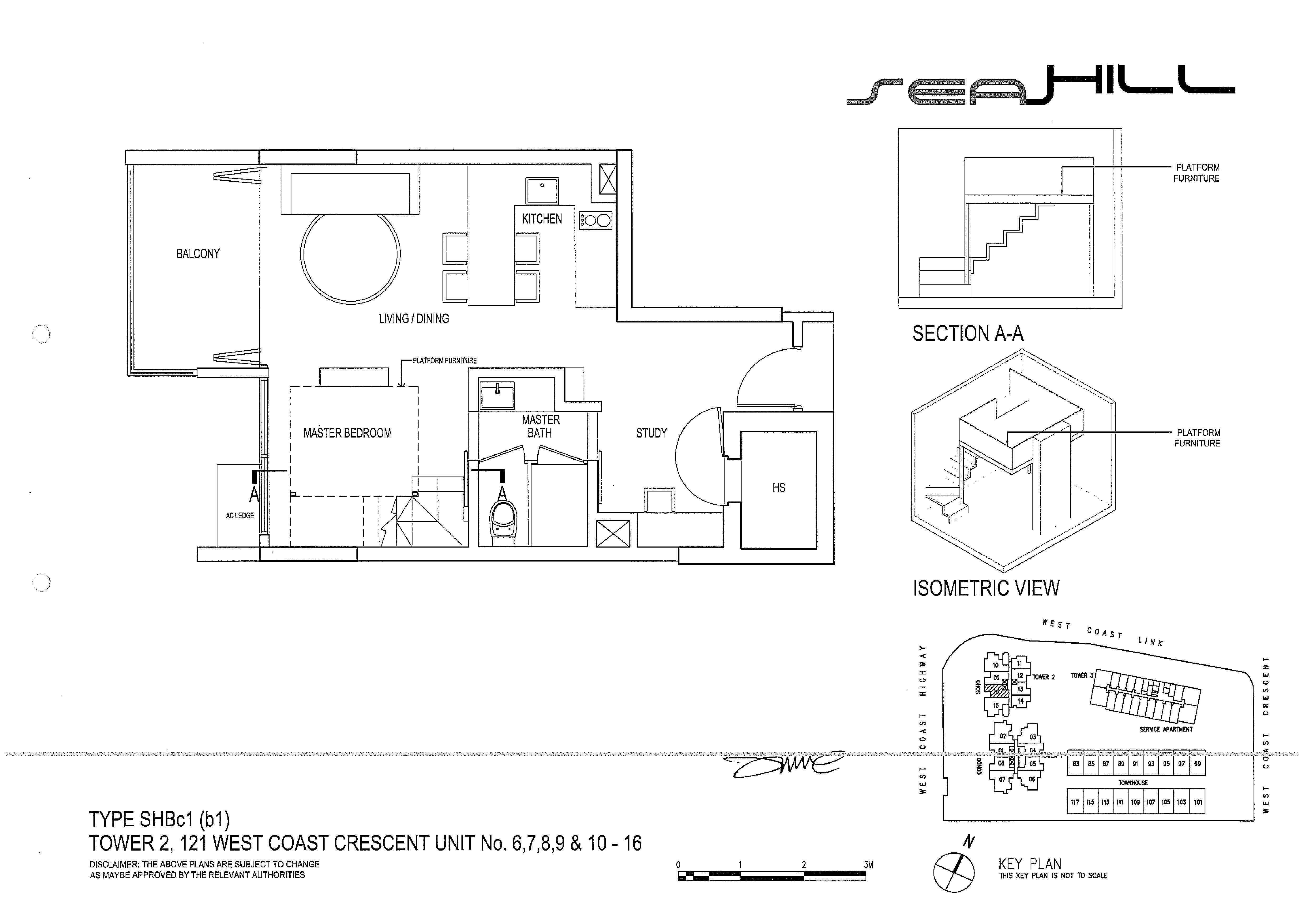 Seahill 1 Bedroom + Study Soho Type SHBc1(b1) Unit 06/07/08/09/10-16 Floor Plans