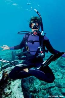 floating underwater deep sea diver