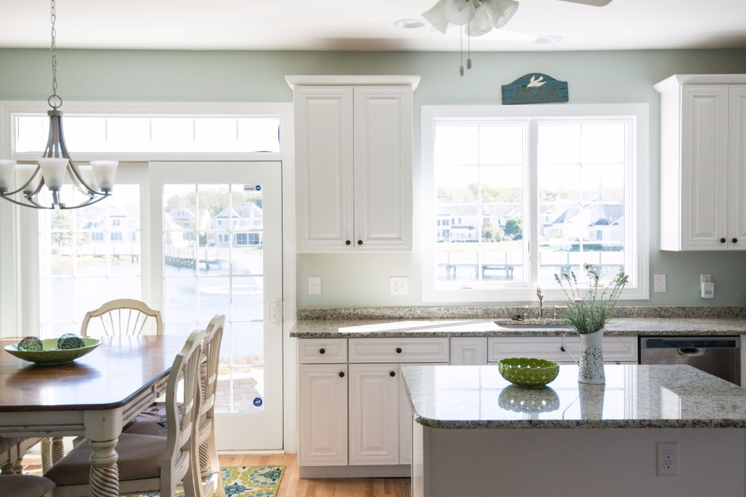 Kitchen Remodel in Bethany Lakes, Bethany Beach DE with Blanco Tulum Granite Countertop and Center Island