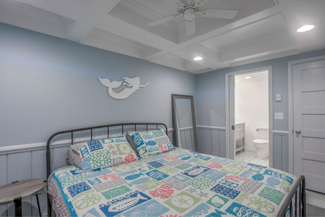 Renovation in Campbell Place, Bethany Beach DE - Bedroom with Custom White Ceiling and Recessed Can Lights