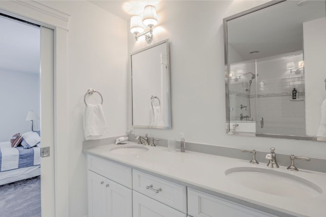 Master Bathroom with White Vanities and White Top