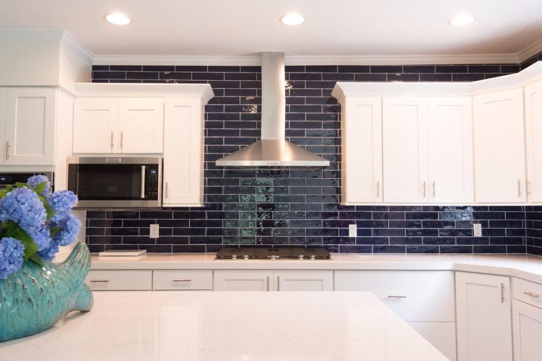 Contemporary Kitchen Remodel in Jefferson Bridge, Bethany Beach DE with Purple Glossy Tiles Backsplash and Five Burner