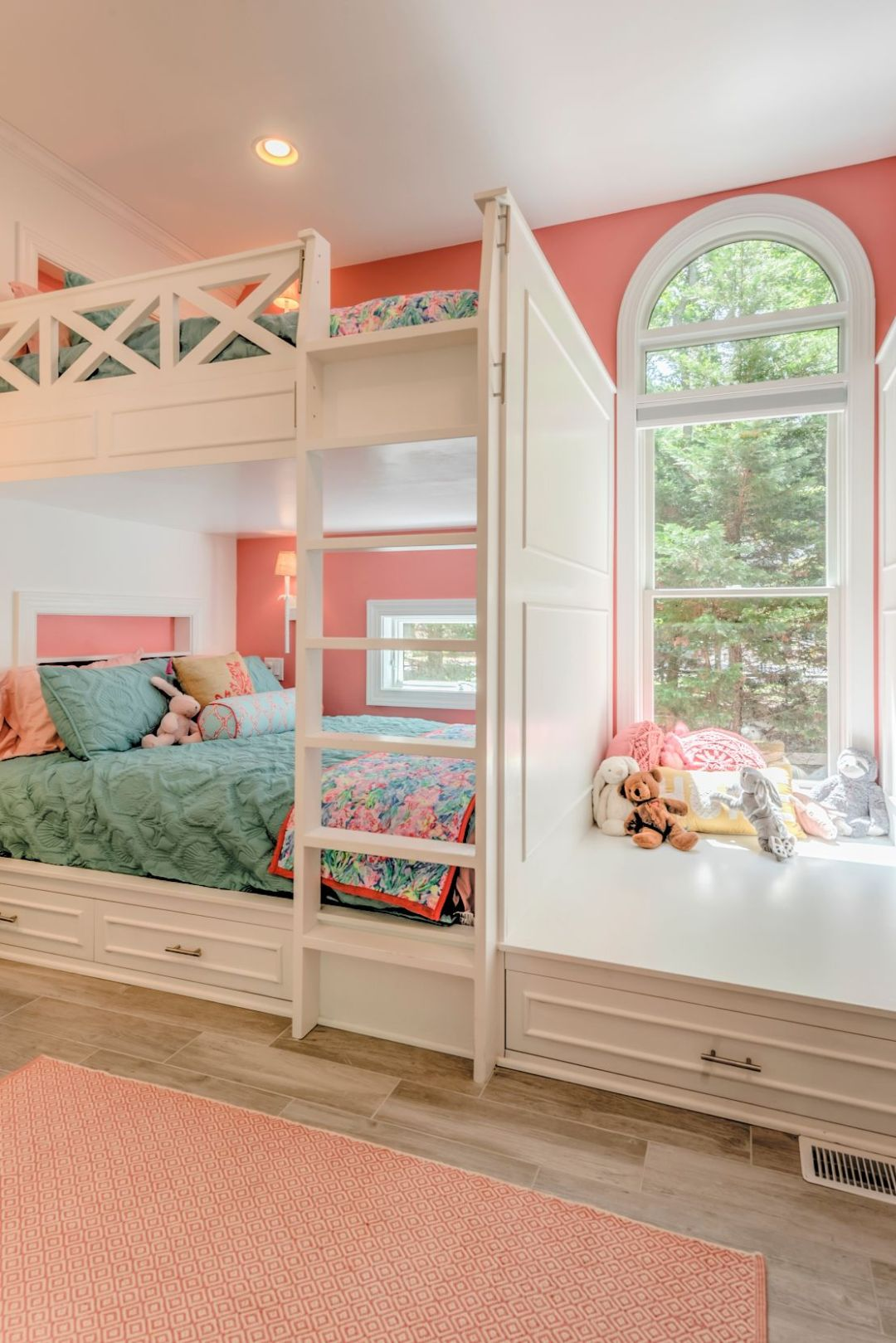 Addition in Juniper Court, Ocean Pines MD - Kids Bedroom with Large Window and White Bed Frames