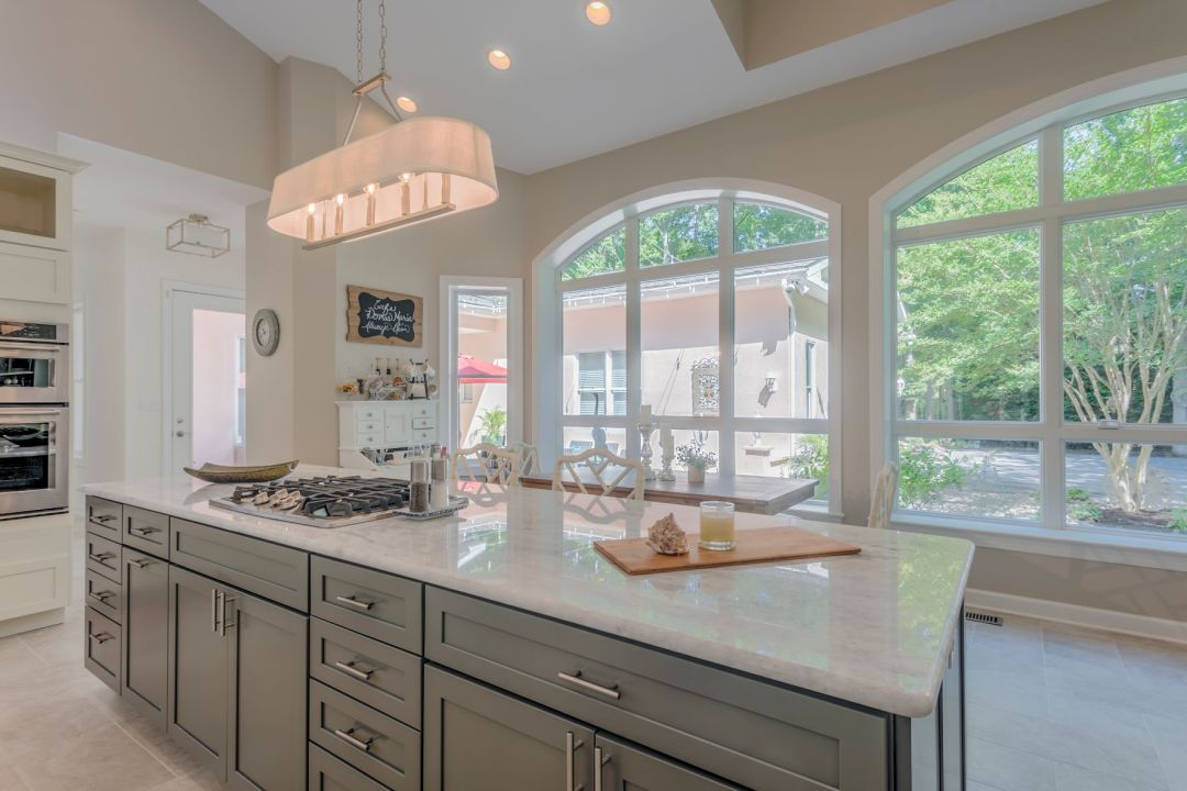 Addition in Juniper Court, Ocean Pines MD - Kitchen with Center Island and Vintage Lights