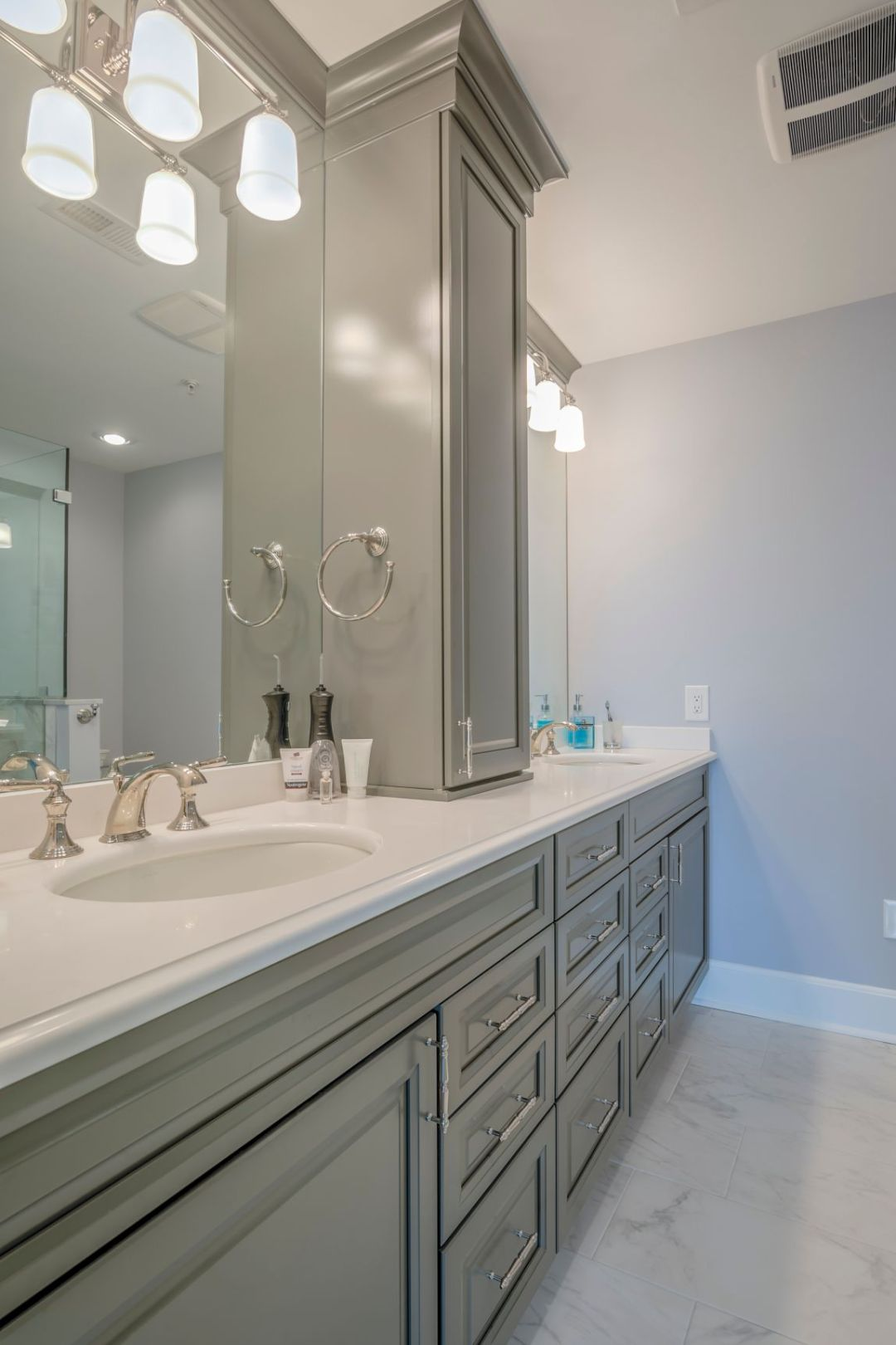 Bathroom Remodel in Kings Grant, Fenwick Island DE with Brushed Steel Faucet and Dual Sinks