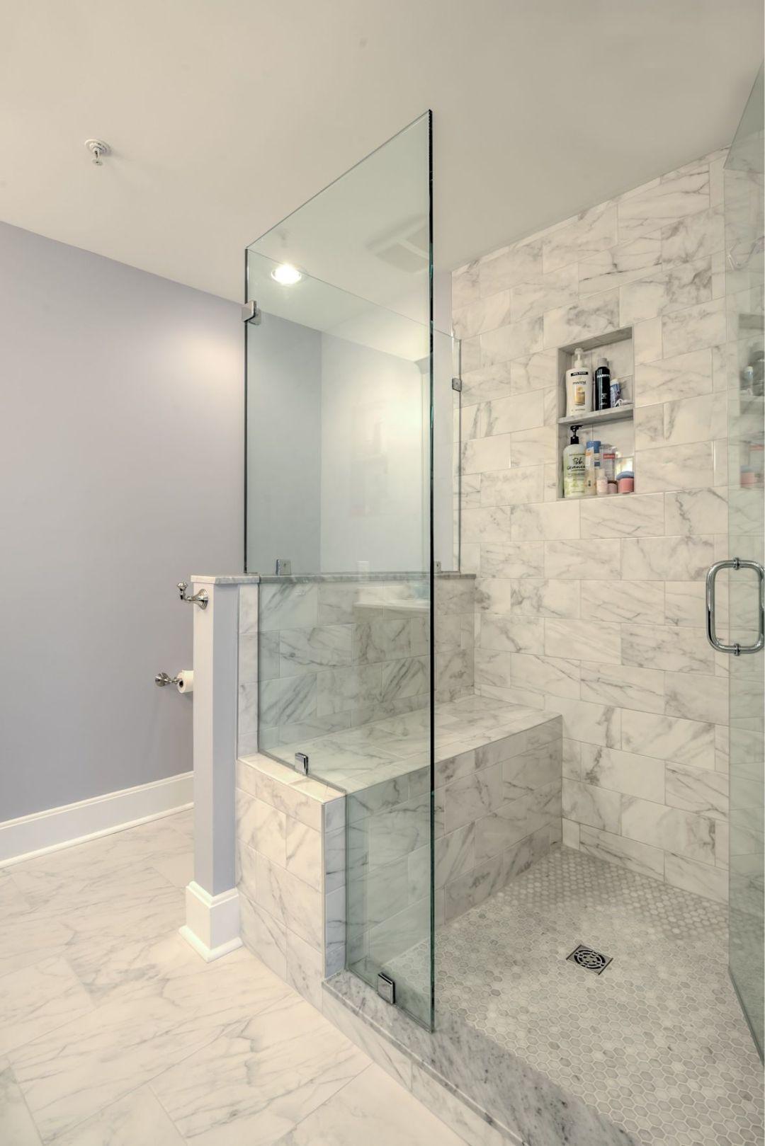 Bathroom Remodel in Kings Grant, Fenwick Island DE with Mosaic Shower Floor Tiles