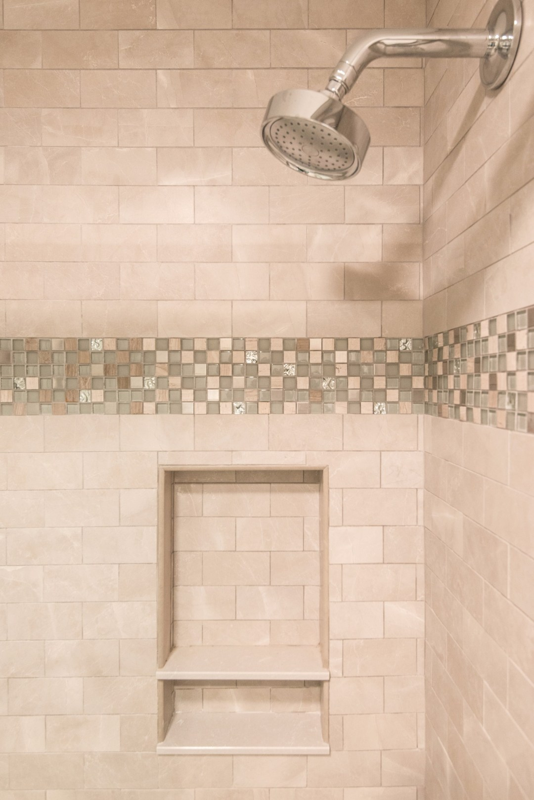 Bathroom Remodel in Kings Grant, Fenwick Island DE with Nordic Grey Subway Wall Tiles and Decorative Glass Mosaic Accents