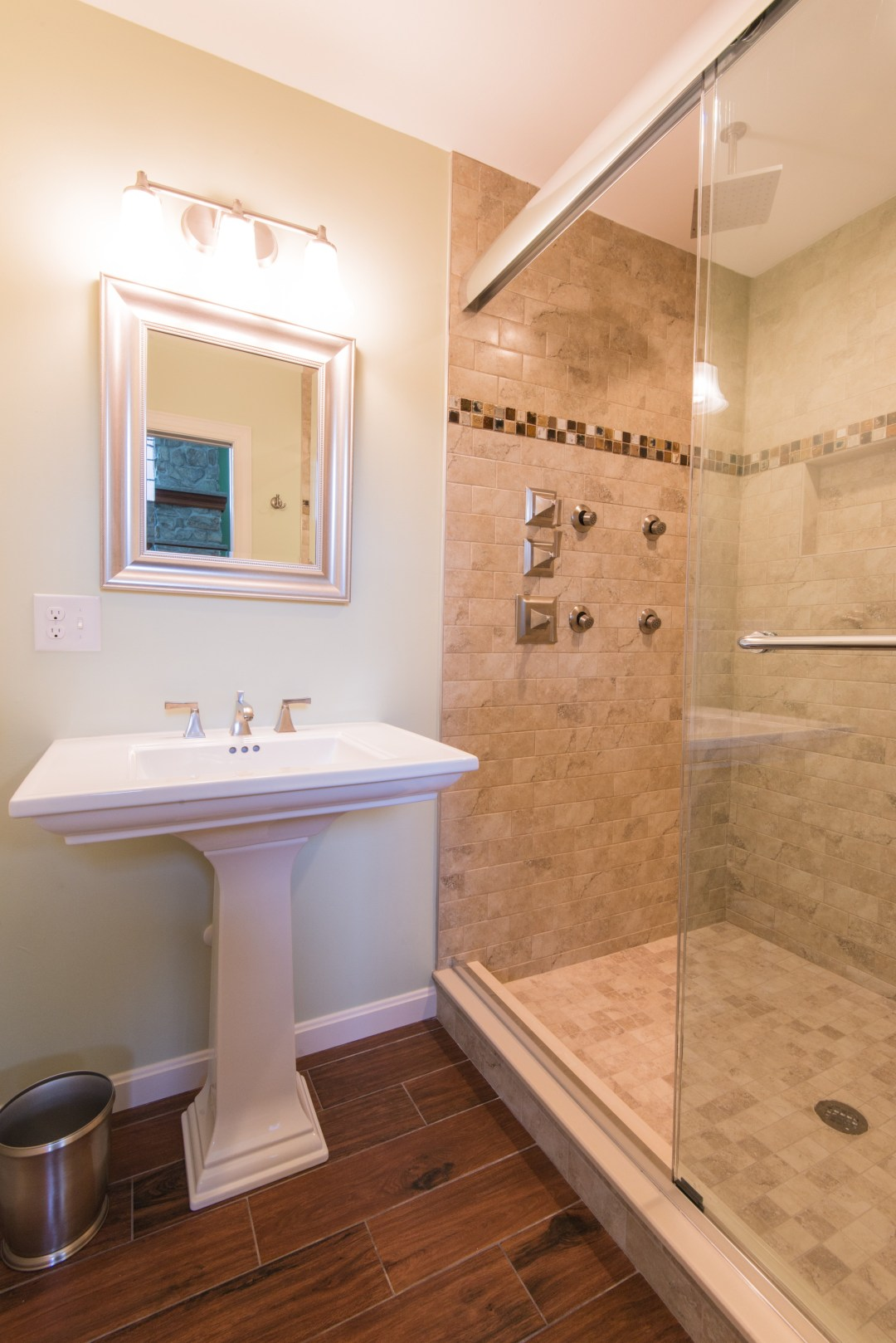 Bathroom Remodel in October Glory, Bear Trap Dunes, Ocean View DE with Subway Wall Tiles and Ceiling Mount Shower Head