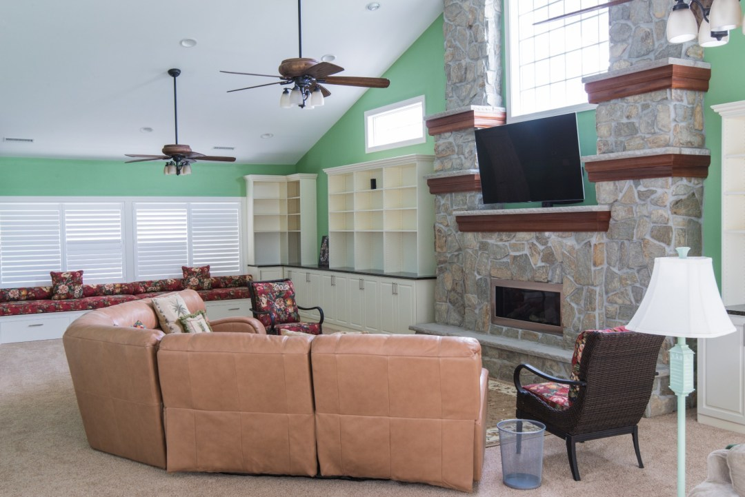 October Glory Great Room Addition in Bear Trap Dunes, Ocean View DE with Carpet and Recessed Can Lights
