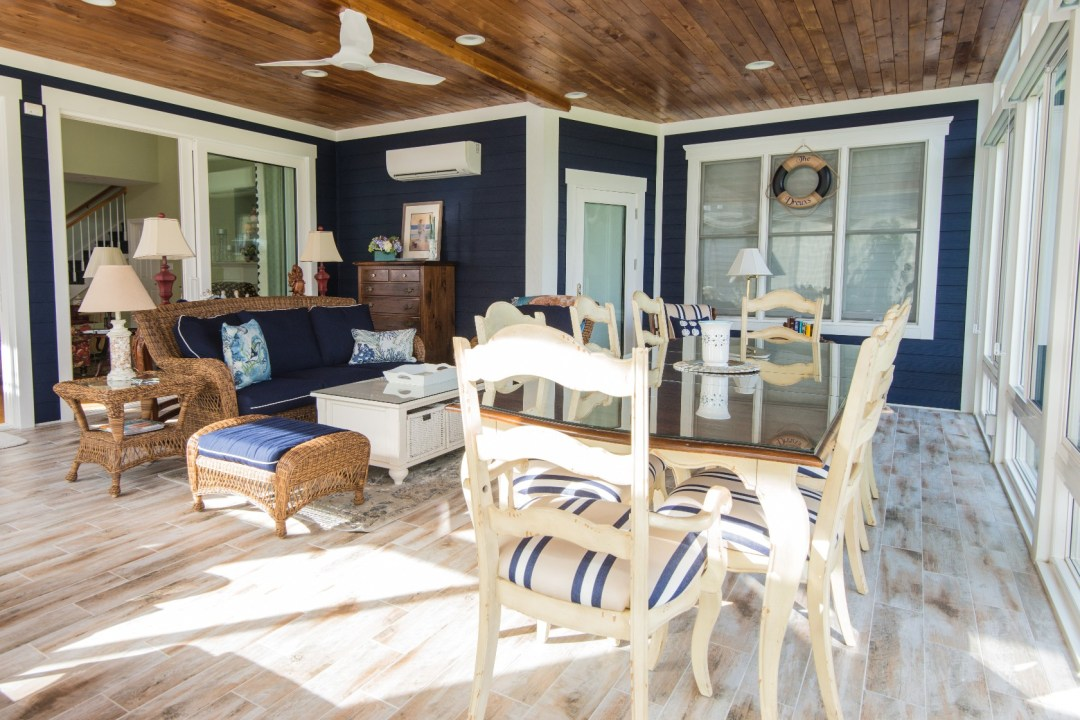 October Glory Sunroom Addition in Bear Trap Dunes, Ocean View DE with Hardwood Flooring and Ceiling Fans