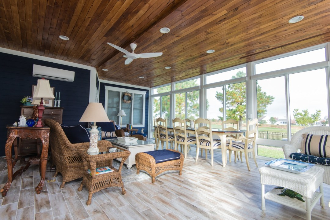 October Glory Sunroom Addition in Bear Trap Dunes, Ocean View DE with Sliding Glass Doors and HVAC Mini Split System