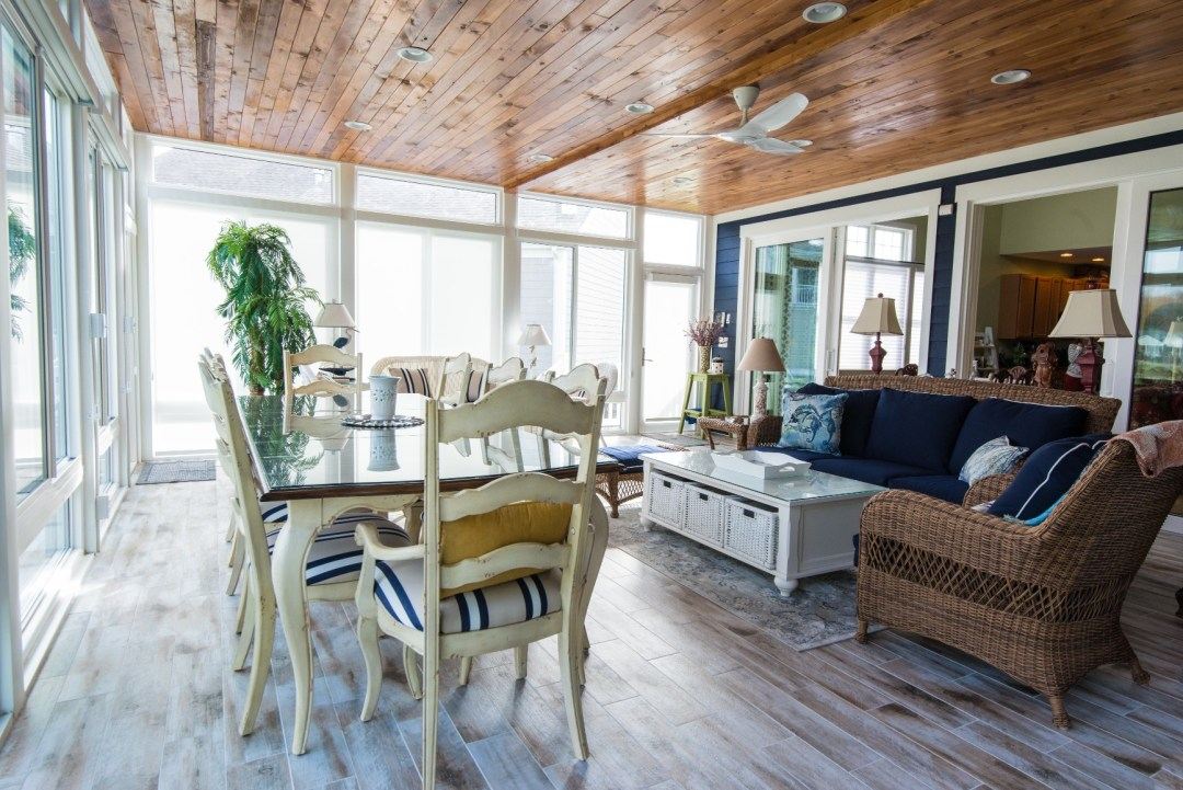 October Glory Sunroom Addition in Bear Trap Dunes, Ocean View DE with Vinyl Bead Board Ceiling and Recessed Can Lights