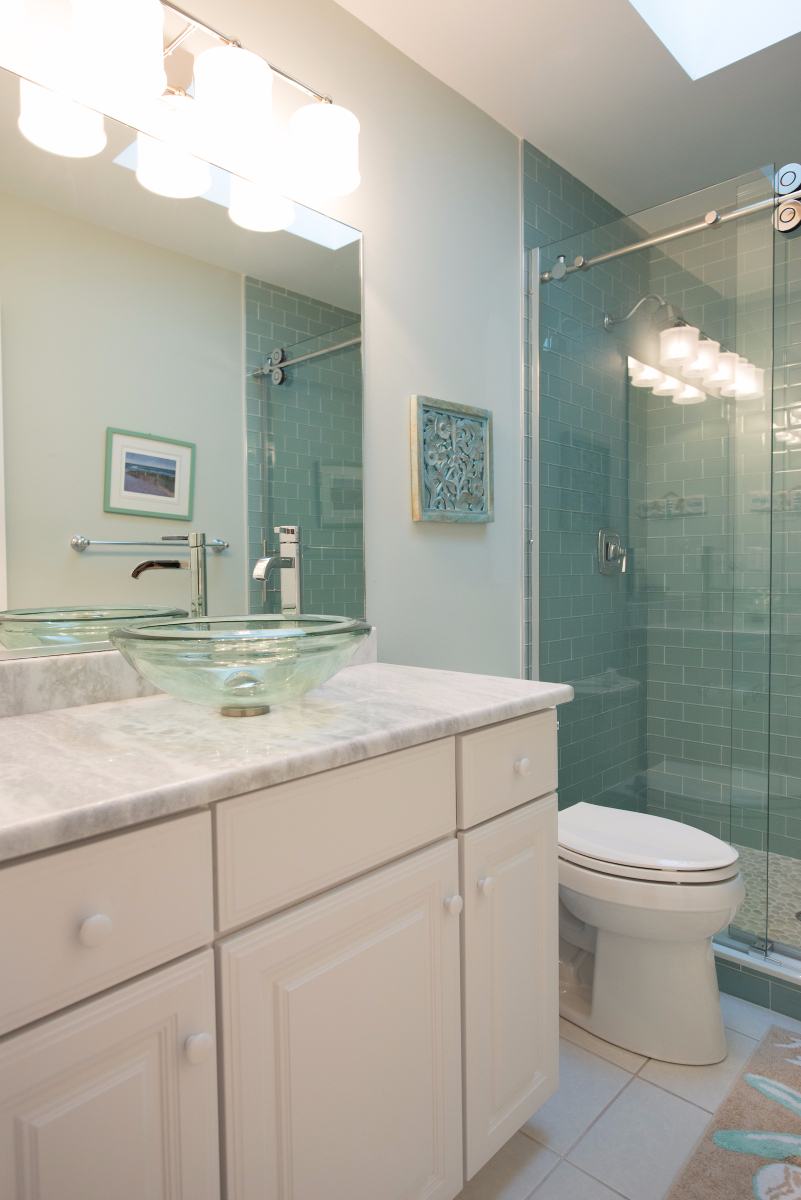 Bathroom Remodel in Pine Tree, Bethany Beach DE with White Vanity Cabinet, Glass Vessel Circular Sink and Subway Wall Tiles