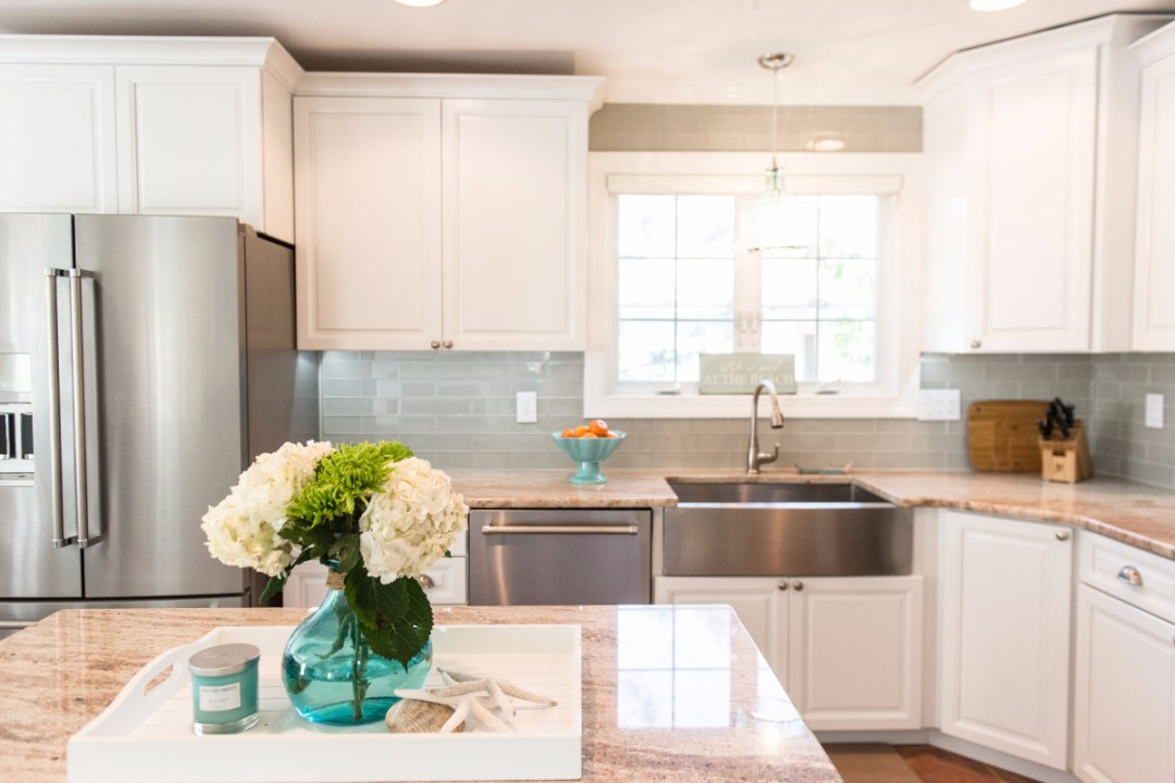 Traditional Kitchen Remodel in Pine Tree, Bethany Beach DE with Astoria Granite Countertop and White Maple Cabinets